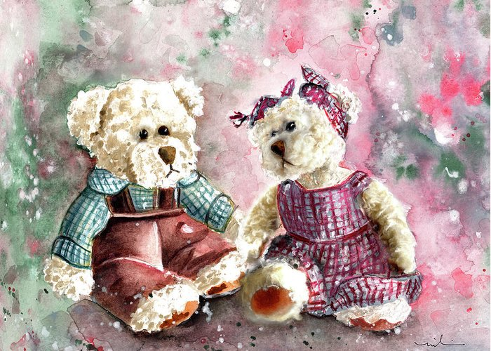 Truffle Mcfurry Greeting Card featuring the painting Toto Et Lolo by Miki De Goodaboom