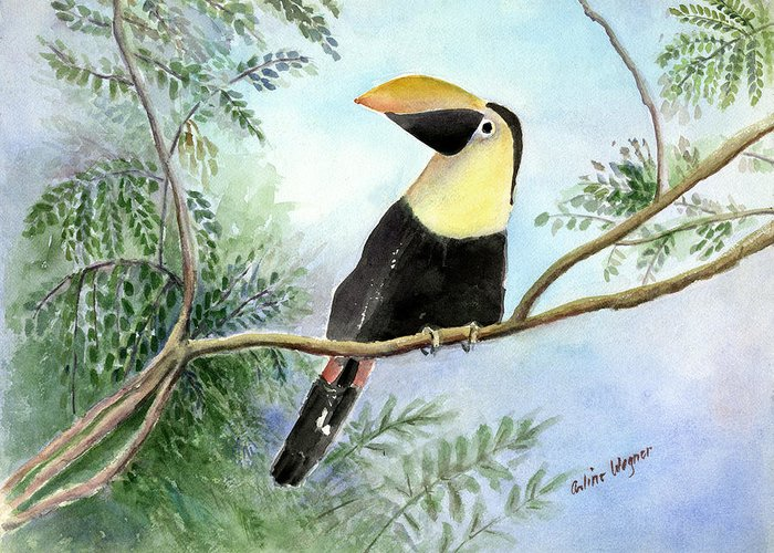 Toucan Greeting Card featuring the painting Toucan by Arline Wagner