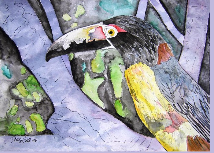 Touccan Greeting Card featuring the painting Toucan Bird Tropical Painting Fine Modern Art Print by Derek Mccrea