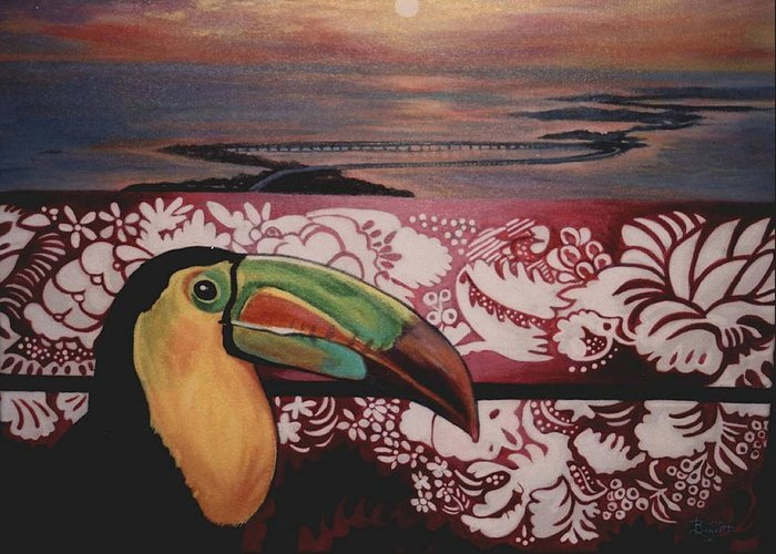 Bird Greeting Card featuring the painting Toucan by Diann Baggett