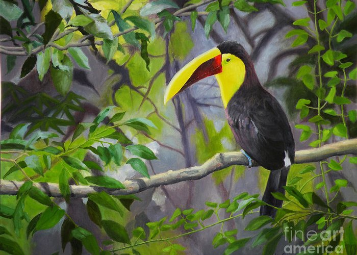 Toucan Greeting Card featuring the painting Toucan by Lou Spina