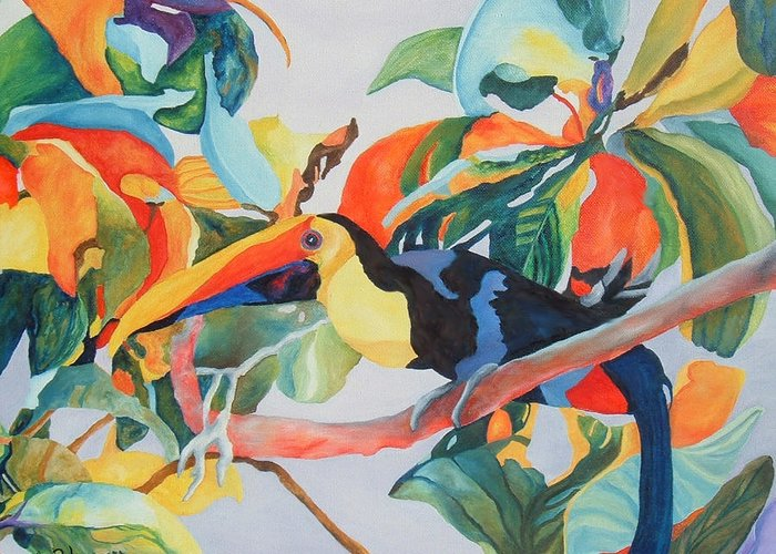 Bird Greeting Card featuring the painting Toucan by SheRok Williams