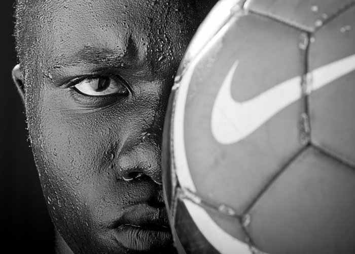 Soccer Greeting Card featuring the photograph Tough Like A Nike Ball by Val Black Russian Tourchin