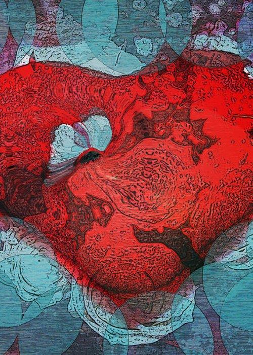 Abstract Art Greeting Card featuring the digital art Tough Love by Linda Sannuti