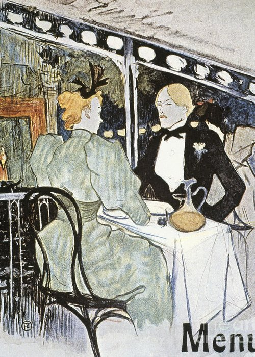 19th Century Greeting Card featuring the photograph Toulouse-lautrec: Menu by Granger