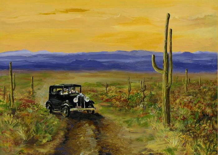 Desert Greeting Card featuring the painting Touring Arizona by Jack Skinner
