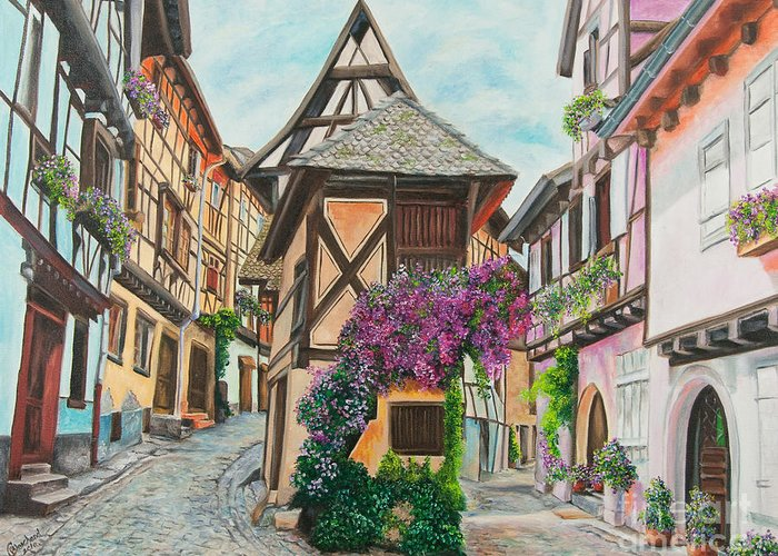 France Greeting Card featuring the painting Touring In Eguisheim by Charlotte Blanchard