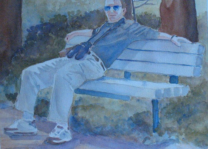 Tourists Greeting Card featuring the painting Tourist At Rest by Jenny Armitage