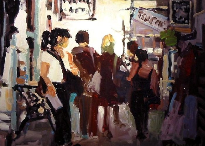 Landscape Paintings Greeting Card featuring the painting Tourists by Brian Simons