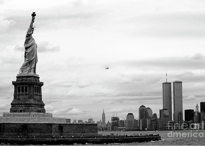 America Greeting Card featuring the photograph Tourists Visiting The Statue Of Liberty by Sami Sarkis
