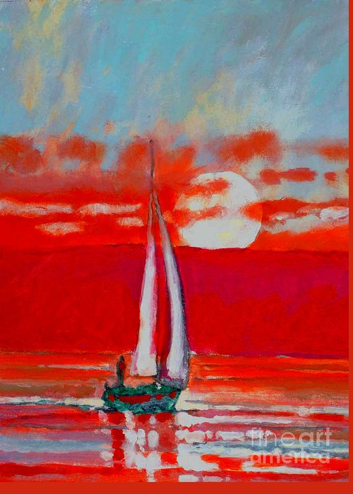 Sailing Greeting Card featuring the painting Toward Sunset I by Kip Decker