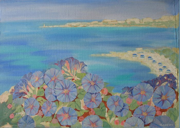 Seascape Greeting Card featuring the painting Towards The Sun. by Natalia Piacheva