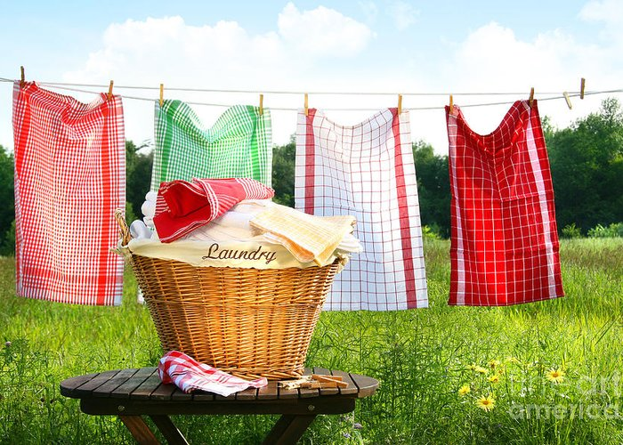 Basket Greeting Card featuring the digital art Towels Drying On The Clothesline by Sandra Cunningham