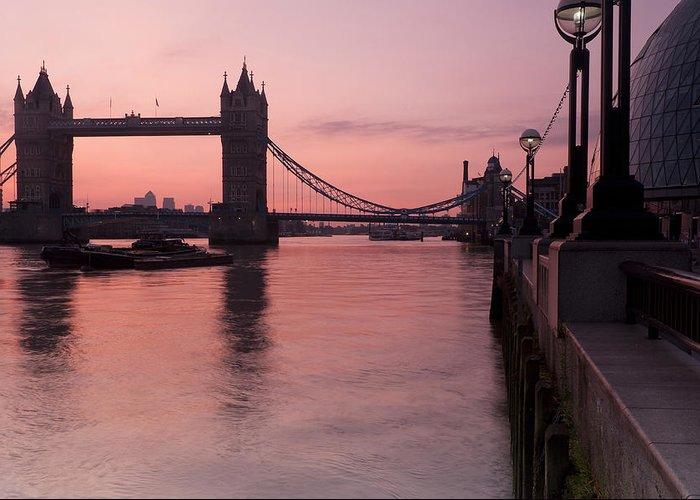 London Greeting Card featuring the photograph Tower Bridge Sunrise by Donald Davis