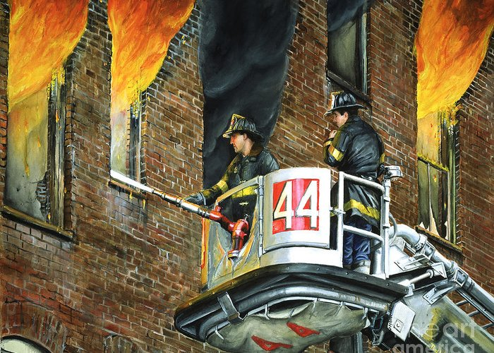 Fdny Greeting Card featuring the painting Tower Ladder 44-south Bronx by Paul Walsh