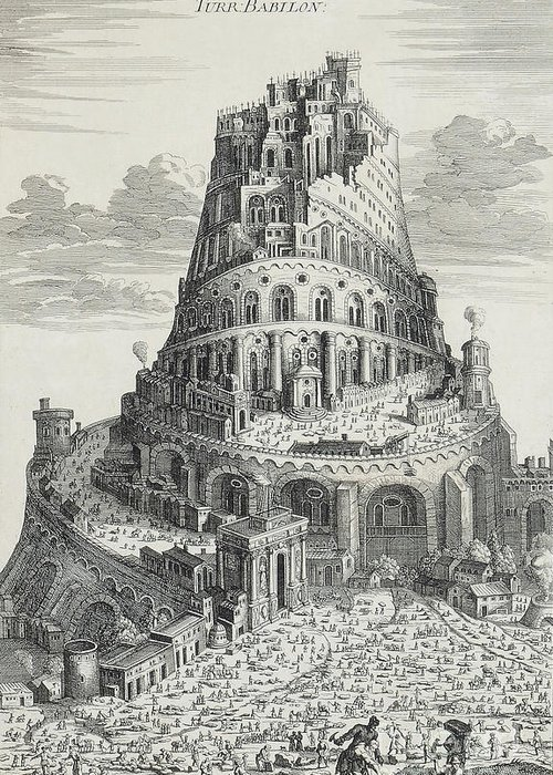 Tower Of Babel Greeting Cards
