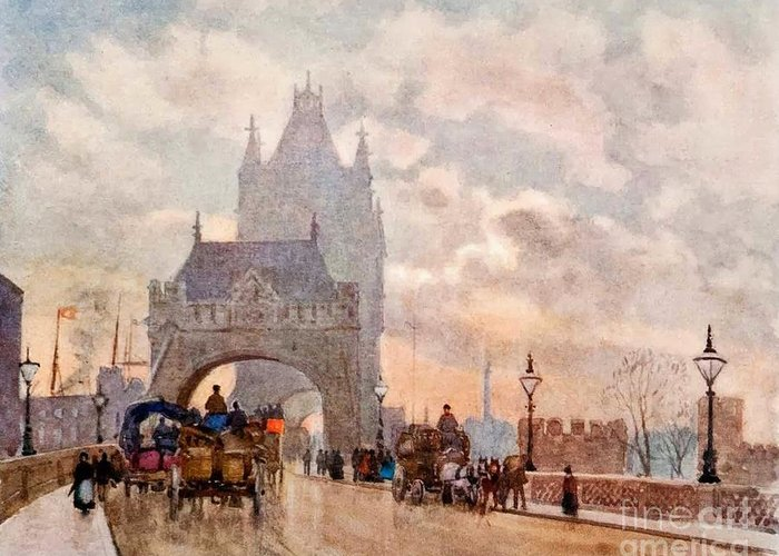 Herbert Menzies Marshall - Tower Of London Bridge Greeting Card featuring the painting Tower Of London Bridge by MotionAge Designs