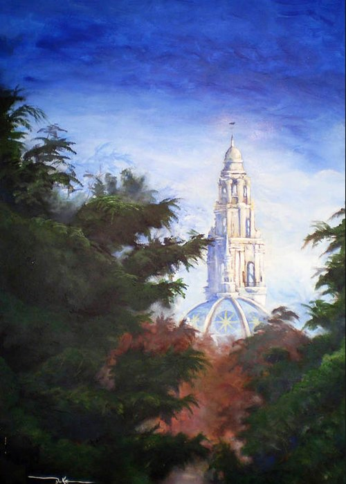 Balboa Park Greeting Card featuring the painting Tower Over The Grove II by Duke Windsor