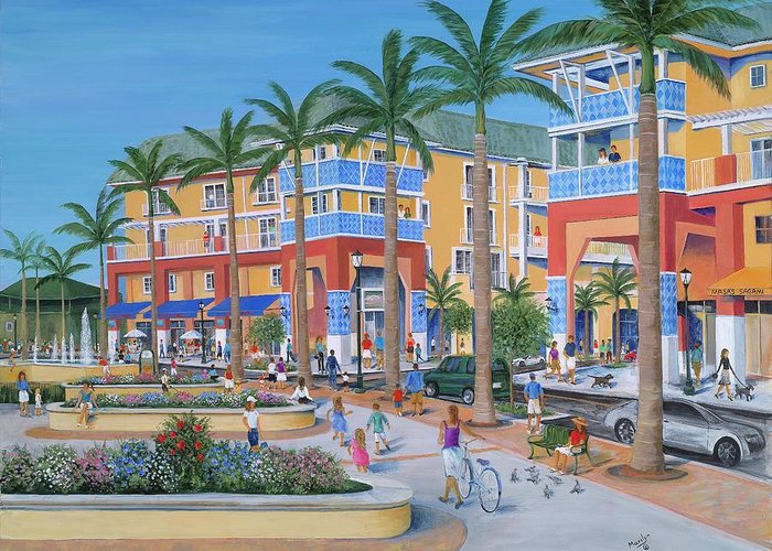 Jupiter Florida Greeting Card featuring the painting Town Center Abacoa Jupiter by Marilyn Dunlap