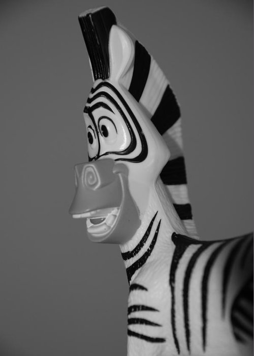 Black And White Greeting Card featuring the photograph Toy Zebra by Rob Hans