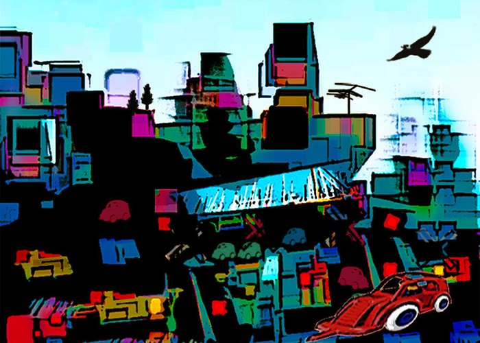 City Greeting Card featuring the digital art Toyland by Sabine Stetson