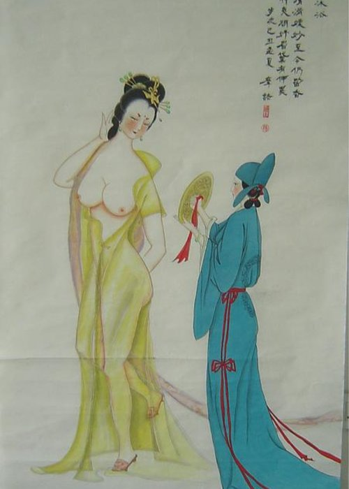 High-ranked Greeting Card featuring the painting Tr 024 High-ranked Imperial Concubine Come Out Bath by Mojie Wang