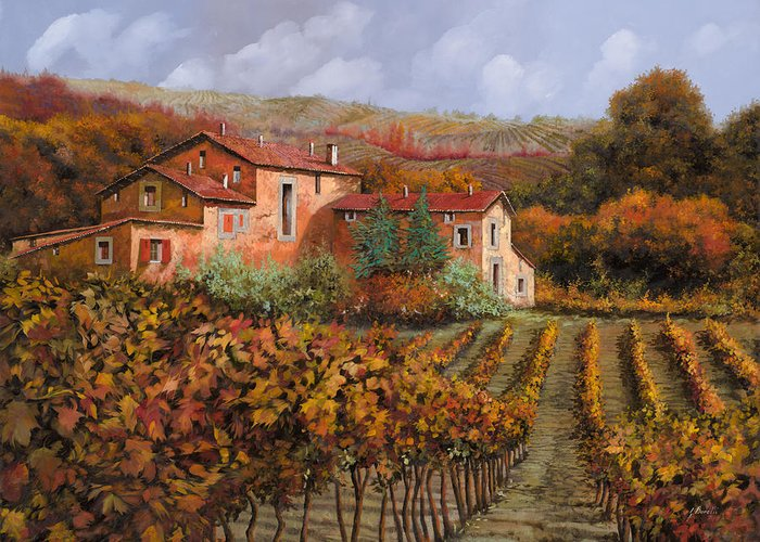 Wine Greeting Card featuring the painting tra le vigne a Montalcino by Guido Borelli