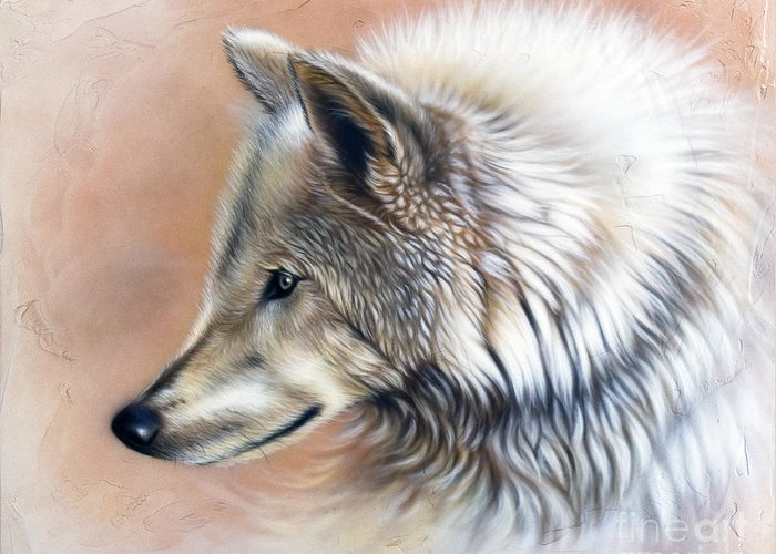 Wolves Greeting Card featuring the painting Trace IIi by Sandi Baker
