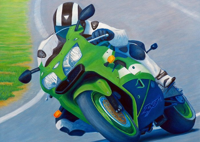Motorcycle Greeting Card featuring the painting Track Day - Kawasaki Zx9 by Brian Commerford