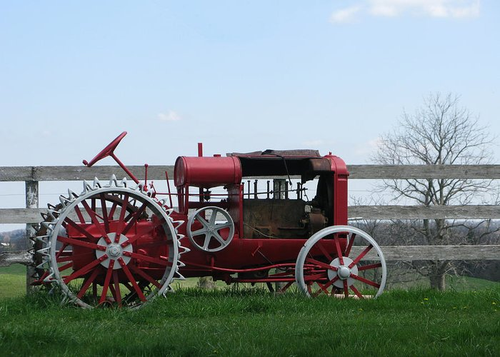 Tractor Greeting Card featuring the photograph Tractor by Martie DAndrea