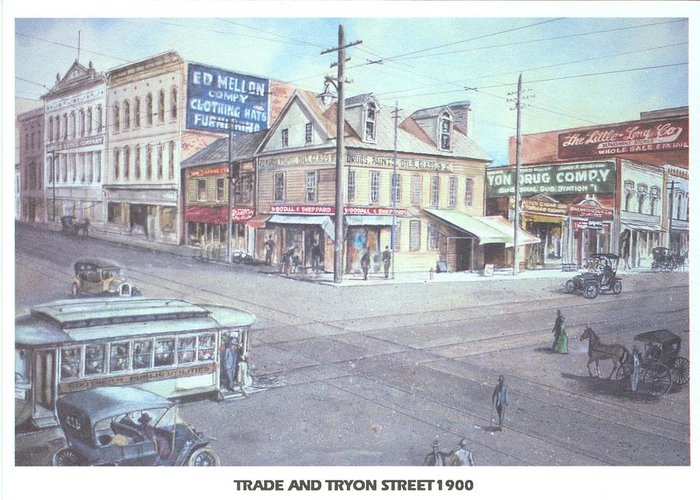 Charlotte Greeting Card featuring the painting Trade And Tryon Street 1900 by Charles Roy Smith