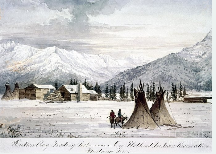 1860 Greeting Card featuring the painting Trading Outpost, C1860 by Granger
