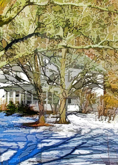 American Greeting Card featuring the painting Traditional American Home In Winter by Lanjee Chee