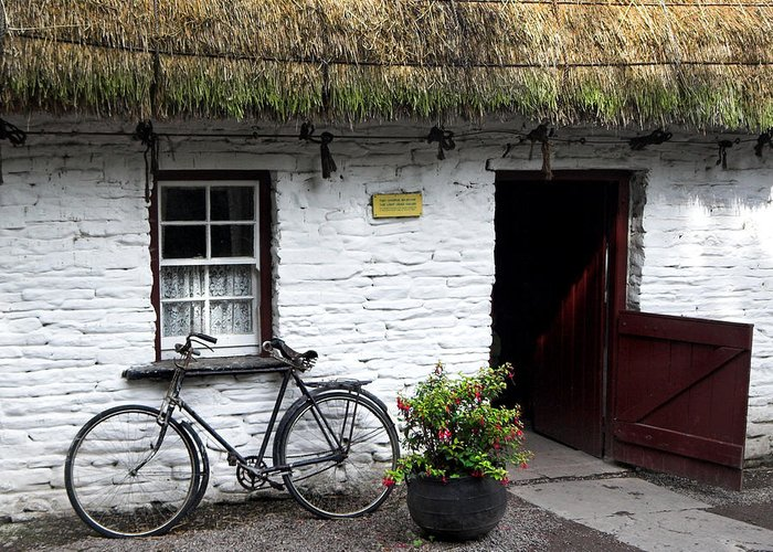 Thatch Roof Greeting Card featuring the photograph Traditional Thatch Roof Cottage Ireland by Pierre Leclerc Photography