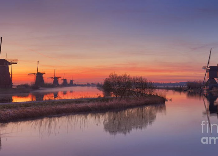 Windmill Greeting Card featuring the photograph Traditional Windmills At Sunrise, Kinderdijk, The Netherlands by Sara Winter