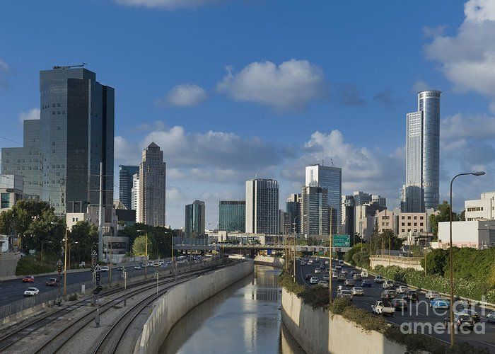 Architecture Greeting Card featuring the photograph Traffic Flowing In And Out Of Downtown Tel Aviv by Noam Armonn