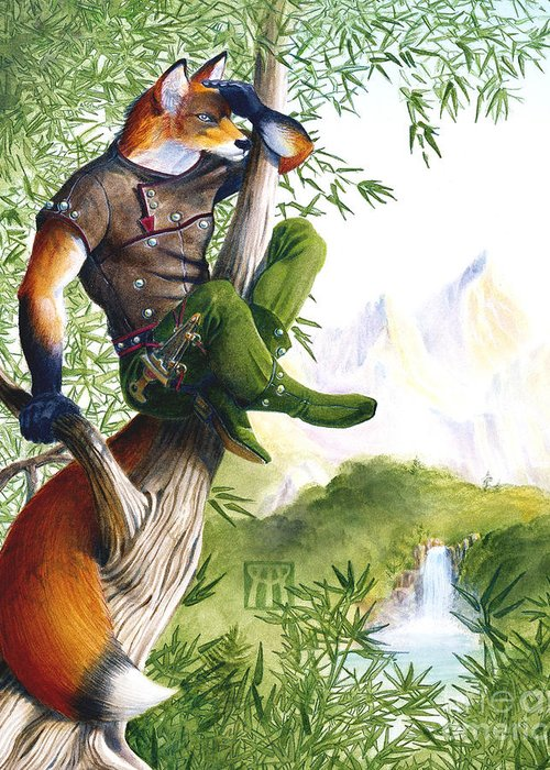 Fantasy Greeting Card featuring the painting Trail Blazing Fox by Melissa A Benson
