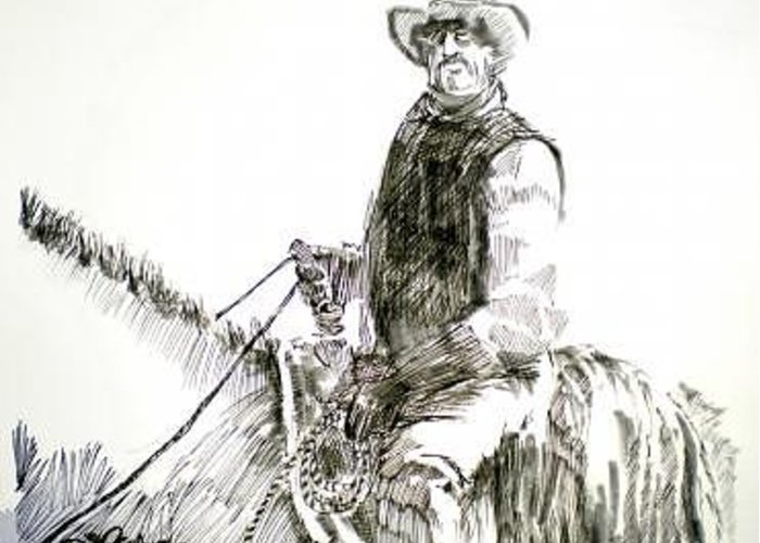 Trail Boss Greeting Card featuring the drawing Trail Boss by Seth Weaver