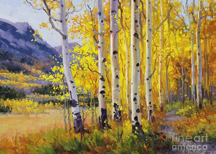 Gary Greeting Card featuring the painting Trail through Golden Aspen by Gary Kim