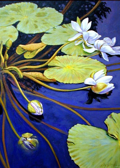 Water Lilies Greeting Card featuring the painting Trailing Beauty by John Lautermilch