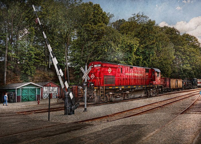Train Greeting Card featuring the photograph Train - Diesel - Look Out For The Locomotive by Mike Savad