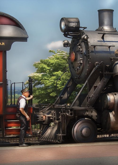 Savad Greeting Card featuring the photograph Train - Engine - Alllll Aboard by Mike Savad