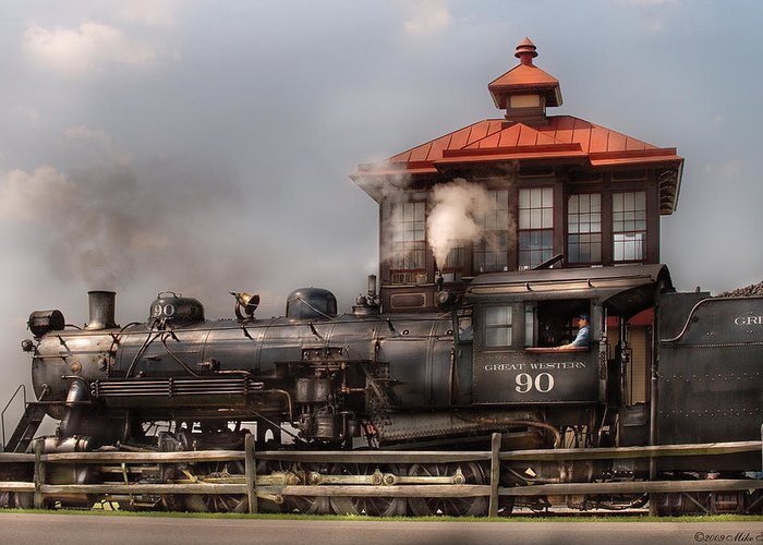 Savad Greeting Card featuring the photograph Train - Engine -the Great Western 90 by Mike Savad