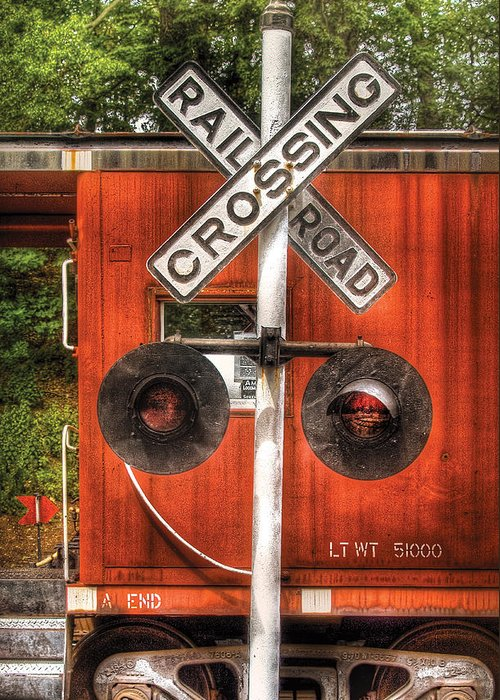 Savad Greeting Card featuring the photograph Train - Yard - Railroad Crossing by Mike Savad