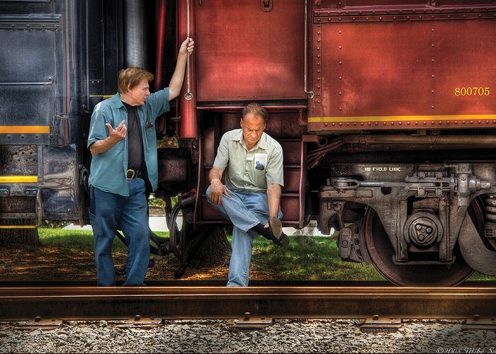 Savad Greeting Card featuring the photograph Train - Yard - Shoot'in The Breeze by Mike Savad