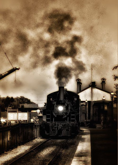 Strasburg Greeting Card featuring the photograph Train Coming In The Station by Bill Cannon