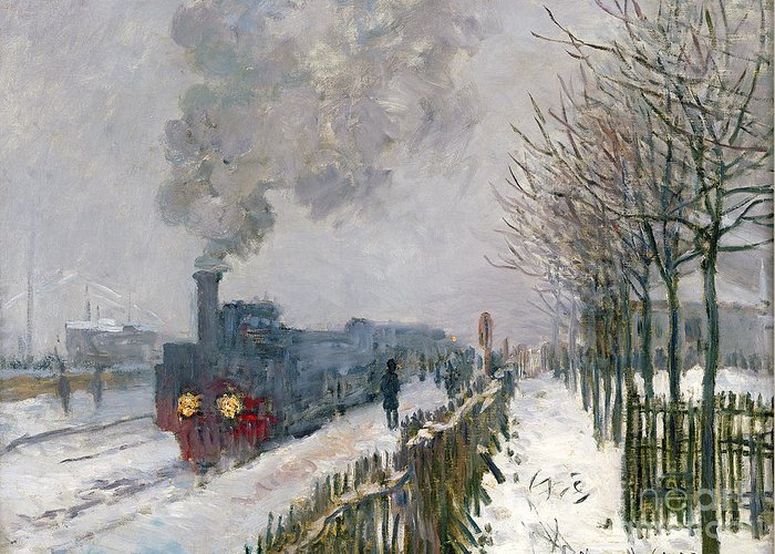 Train Greeting Card featuring the painting Train in the Snow or The Locomotive by Claude Monet
