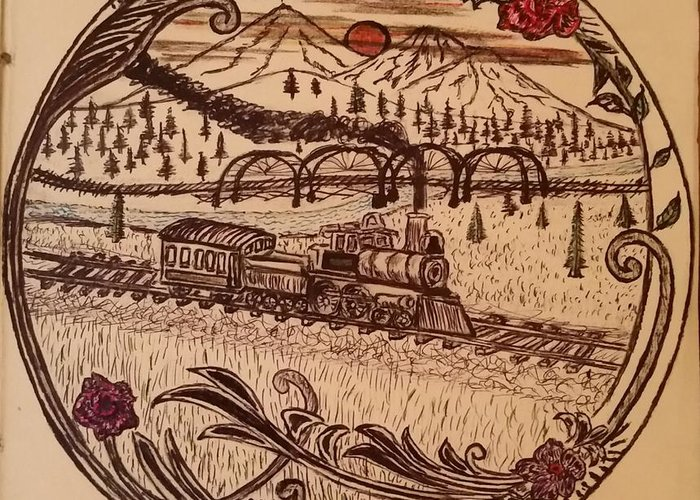 Black And White Greeting Card featuring the drawing Train Is A-comming by Steve Hager