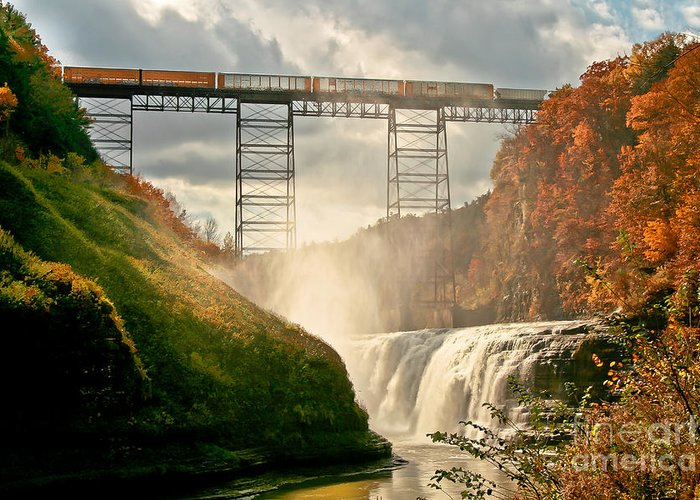Waterfall Greeting Card featuring the photograph Train Over Letchworth by Ken Marsh