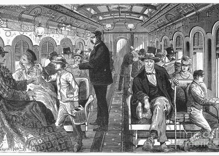 1876 Greeting Card featuring the photograph Train: Passenger Car, 1876 by Granger